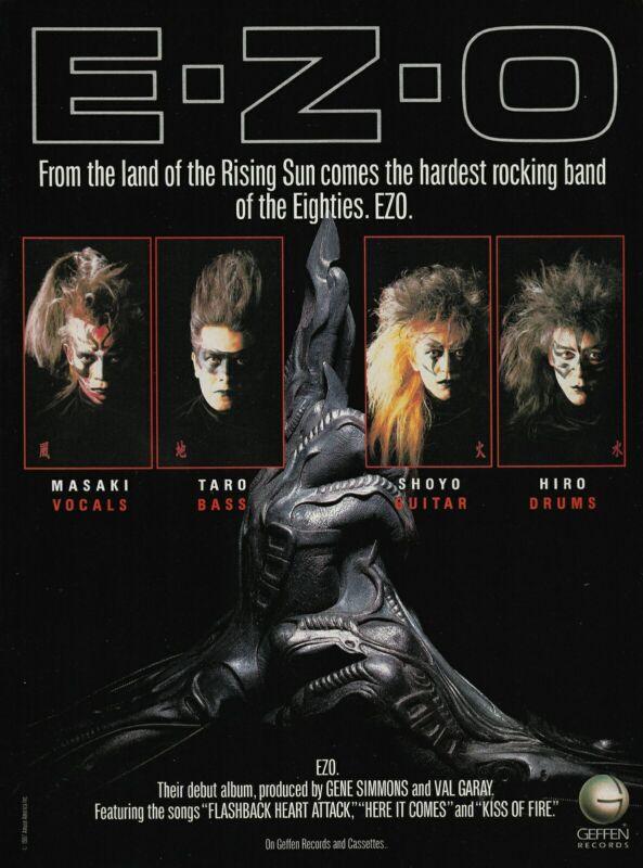 E-Z-O Self-Titled Debut Album Geffen Gene Simmons EZO 1987 8x11 Promo Poster Ad