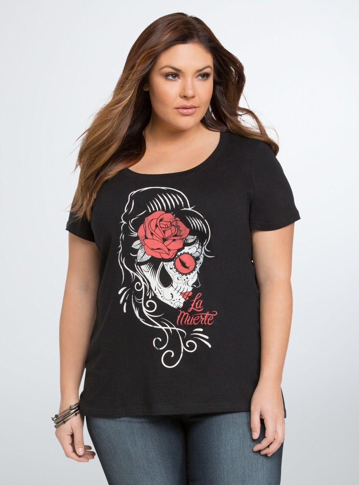 halloween t-shirt torrid la muerte scoop tee 0 | ebay