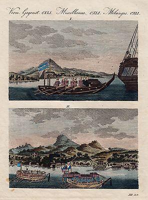 JAPAN -  BERTUCH um 1800 Schiffe altkoloriert Contemporary Coloured ORIGINAL