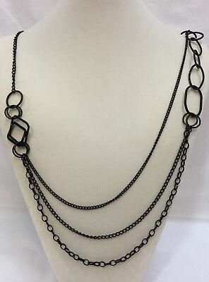 Black Multi Strand Necklace Bib Metal Chain 43