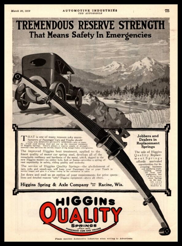1919 Higgins Spring & Axle Co. Racine Wisconsin Quality Springs Vintage Print Ad