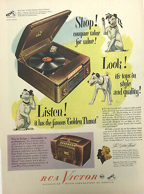 RCA Victor Radio Dog Magazine Print Ad Vintage Phonograph Household Original