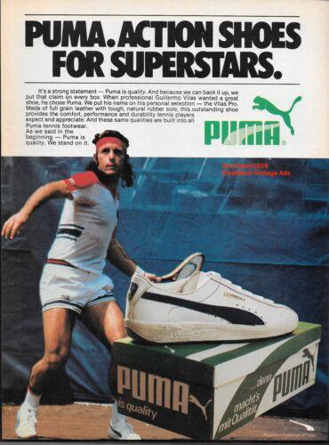 "1980 Puma Guillermo Vilas Tennis Shoe ""Action Shoes For Superstars"" Print Advert"
