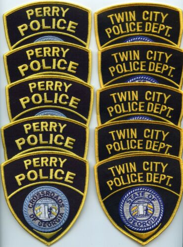 PERRY & TWIN CITY GEORGIA Patch Lot Trade Stock 10 Police Patches POLICE PATCH