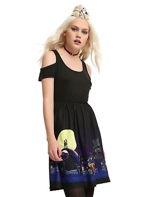 Disney The Nightmare Before Christmas Halloween Town Cold Shoulder Dress S or M](Halloween Town Nightmare Before Christmas)