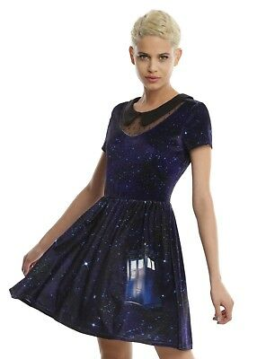 HOT TOPIC Doctor Who Galaxy TARDIS High Fashion Velvet Dress For Juniors Large