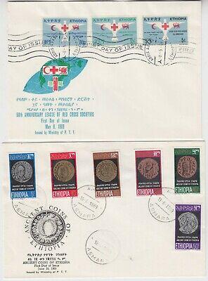 ETHIOPIA 1969 *RED CROSS* & *ANCIENT COINS of ETHIOPIA* 2x official illust FDCs