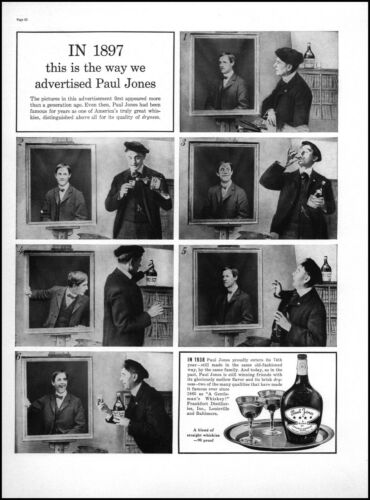 1938 Paul Jones Whiskie 1897 ad parody portraits vintage photo print ad L31