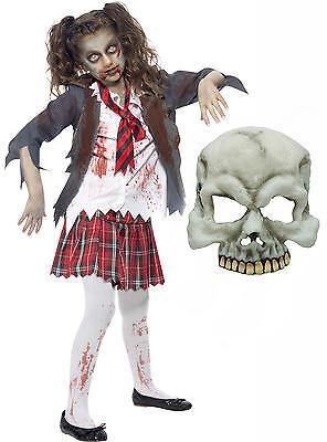 Zombie Monster School Girl Kid Teen Smiffys Halloween Fancy Dress Costume + MASK