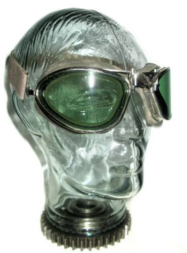 Antique WWII American Optical Green Aviator Goggles Vtg AO Pilot Safety Glasses
