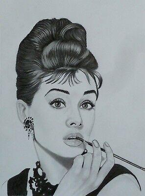 Audrey Hepburn original art pencil drawing