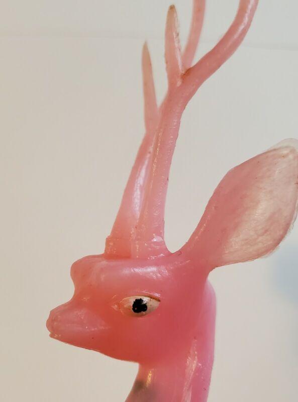 """Vintage Pink Deer Reindeer Head Long Stylized Antlers - Floral Pick 9½"""" RARE"""