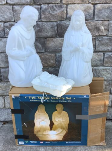 General Foam 3 pc white marble blow mold nativity in box joseph mary baby Jesus