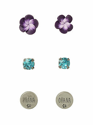 Disney Lilo & Stitch Earrings Set 3 Pair OHANA Hibiscus Flower Faux Jewel Stone