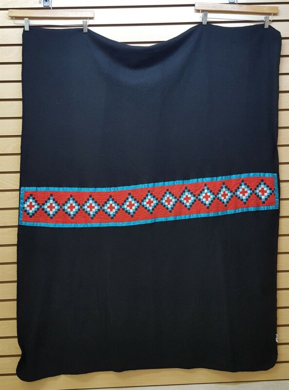 NICE HAND CRAFTED SEMINOLE PATCHWORK NATIVE AMERICAN INDIAN BLACK BABY BLANKET