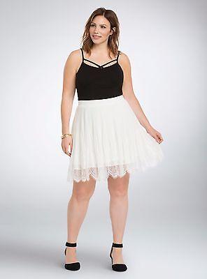 $54.50 Torrid Pleated Chiffon Lace Skater Skirt Plus Size 26 Scalloped Eyelash