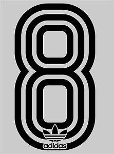 1980's Retro Adidas no 8 Football Name set  for National shirt black or white
