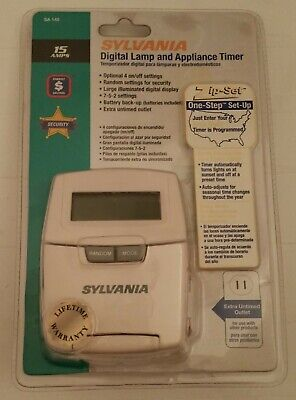 SYLVANIA SA 140 Digital Lamp & Appliance Outlet Security Timer NEW