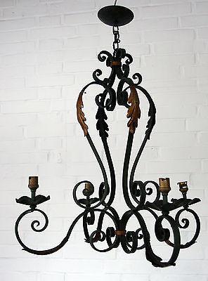 Jugendstil Eisen Floral (Großer floraler jugendstil Leuchter, Schmiedeeisen, Ideal für den Wintergarten)
