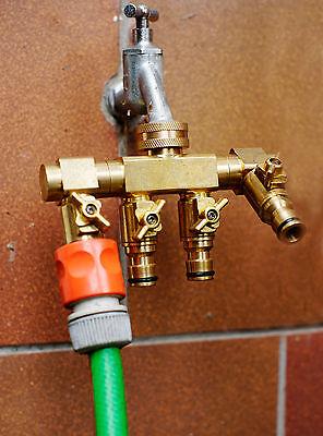 UPP® Wasserverteiler 4 Wege für 1/2' + 3/4'  / Wasserhahn- und Schlauchanschluss