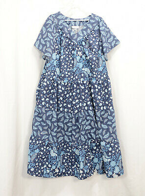 Only Necessities Womens 3x Pullover Lounger Gown Cotton Blue Floral Print V Neck