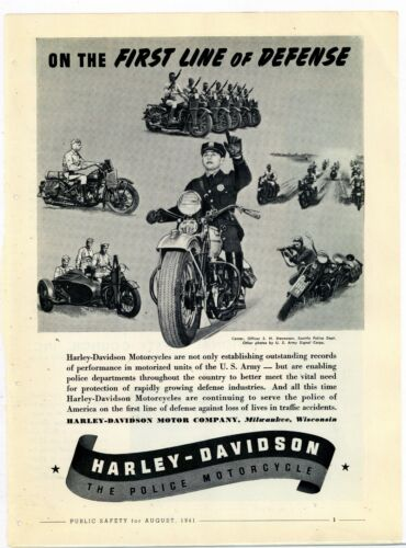 1945 Harley Davidson Police Motorcycles Ad: Seattle Police Dept. Officer Picture