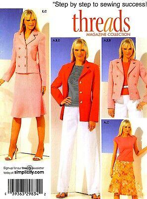 OOP! LADIES THREADS TOP SKIRT PANTS JACKET SEWING PATTERN 14-22 Simplicity 4146 Jacket Top Skirt Pants