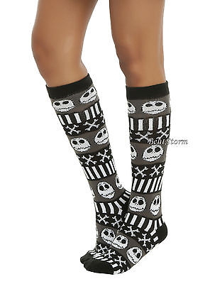 Disney The Nightmare Before Christmas Jack Fair Isle Sweater Knee Hi Socks 1PR