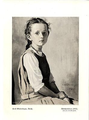 Ernst Würtenberger, Zürich Mädchenbildnis Histor. Kunstdruck von 1911