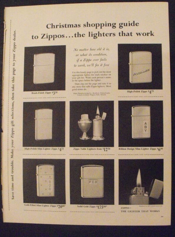 1961 Zippo Lighters Solid Gold Christmas-Holiday Shopping Guide Seasonal Xmas Ad