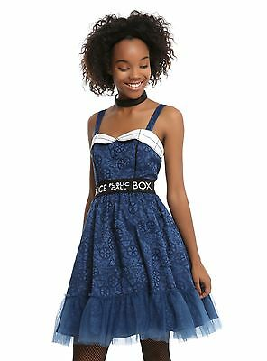 BBC Doctor Dr Who Tardis Public Call Box Fit & Flare Cosplay Dress JUNIORS - Public Halloween Party