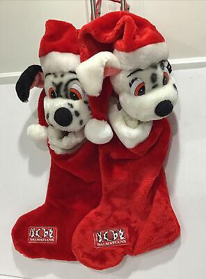 2 Disney's 101 Dalmations Christmas Red Plush Stocking Dog Black White Holiday