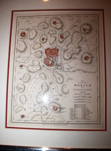 Original Hand Colored Map of the Land of Moriah of Jerusalem 1798/1807 Wilkinson