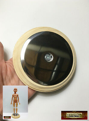 "M01042 MOREZMORE Steel Plate on 5"" Round Wooden Base for Magnet Doll Feet IZB"