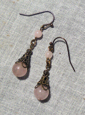 BRASS FILIGREE LIGHT PALE PINK ROSE QUARTZ LINKED EARRINGS VICTORIAN EDWARDIAN -