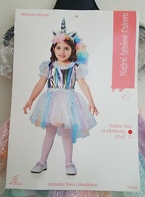 NEW Magical Rainbow Unicorn Halloween Costume Girls 12-18 Months Dress Headpiece](Magical Unicorn Halloween Costume)