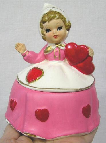 Vintage Lefton Valentine Lady Trinket Box #7172 Holds Hearts White Hat NICE