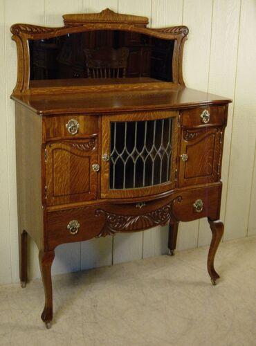 Antique Oak Leaded Glass Server/Buffet