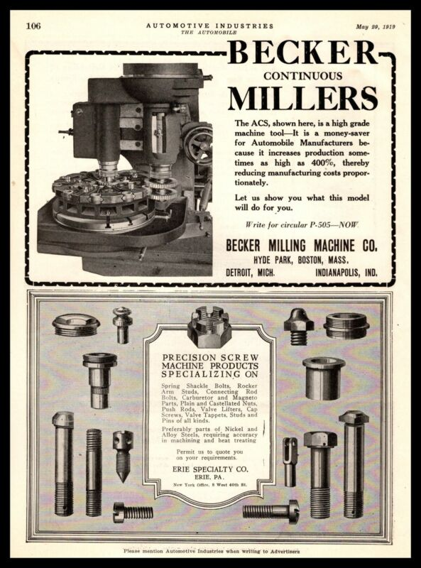1919 Becker Milling Machine Hyde Park Boston MA & Erie PA Specialty Co. Print Ad
