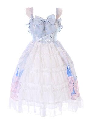 JSK-72-1 Azul Cuento Cierre Lazo Volantes Vestido Pastel Goth Lolita Cosplay