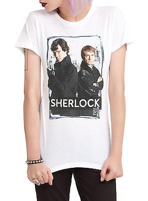 Bbc Sherlock And Watson White Juniors T Shirt New