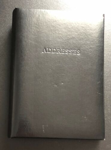 "Leather Address Book Refillable 8.5"" x 5.5"" Black - Never used"