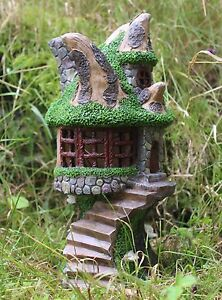 Solar Powered Decorative Garden Ornament Fairy Tree House Colour Changing