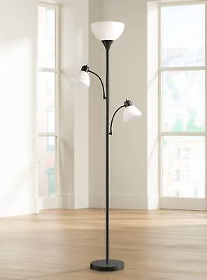 Modern Torchiere Floor Lamp (Modern Torchiere Floor Lamp Bingham Black White Shades For Living Room)