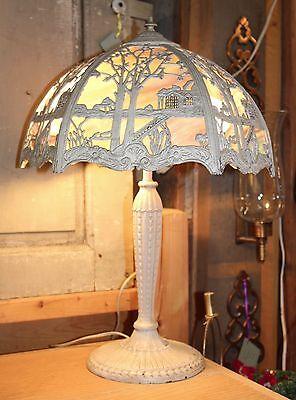 Antique Arts & Crafts Art Nouveau Cast Metal Lamp Painted Slag Glass Shade