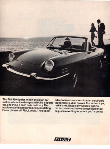 Vintage automobile Print car ad Fiat 850 Spider sports car couple beach 1970 ad