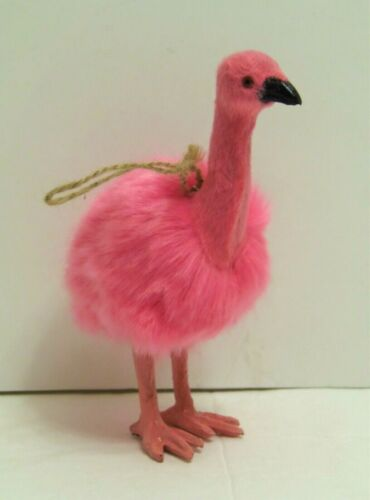 "Pink Flamingo Fluffy Pink Ornament  5.5"" NEW"