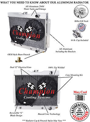 2 Row Best Cooling Champion Radiator W/ 2 12