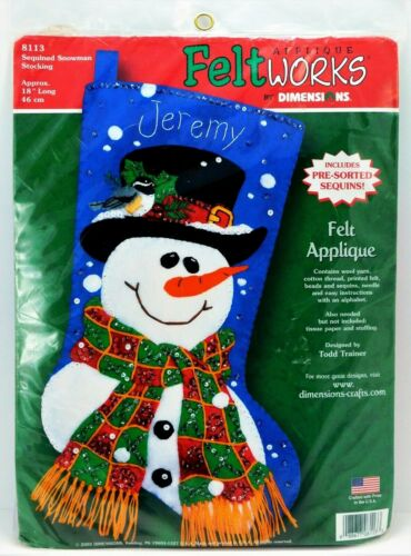 DIMENSIONS Christmas Stocking Craft Kit NEW Felt Works Snowman Sequined 8113