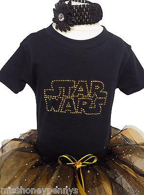 NEON TUTU GIRLS STAR WARS SCI-FI SPARKLE BABY GROW 80s FANCY DRESS KIDS T-SHIRT